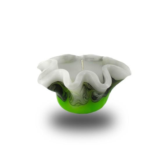 Flower Kerze -S- mit einem Docht -  grün/weiss/grau