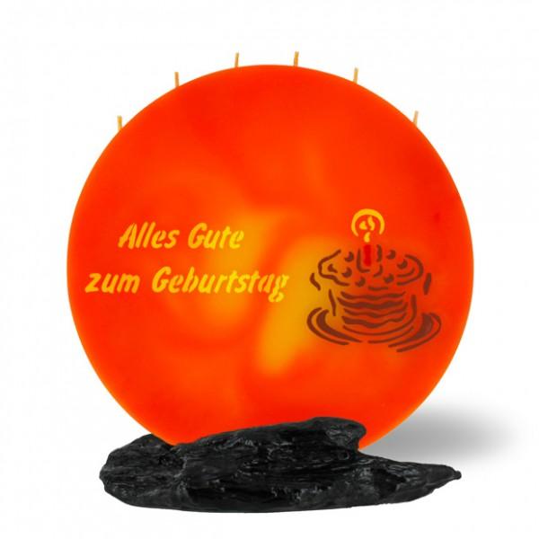 Mond Kerze 756 - 25 cm Ø - Alles Gute zum Geburtstag - orange/gelb -