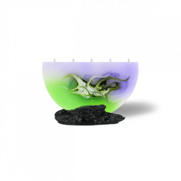 Halbmond Kerze mini 5 Dochte - lila/grün/weiß