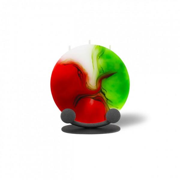 Mond Kerze mini mit Halterung 3 Dochte - rot/weiß/grün