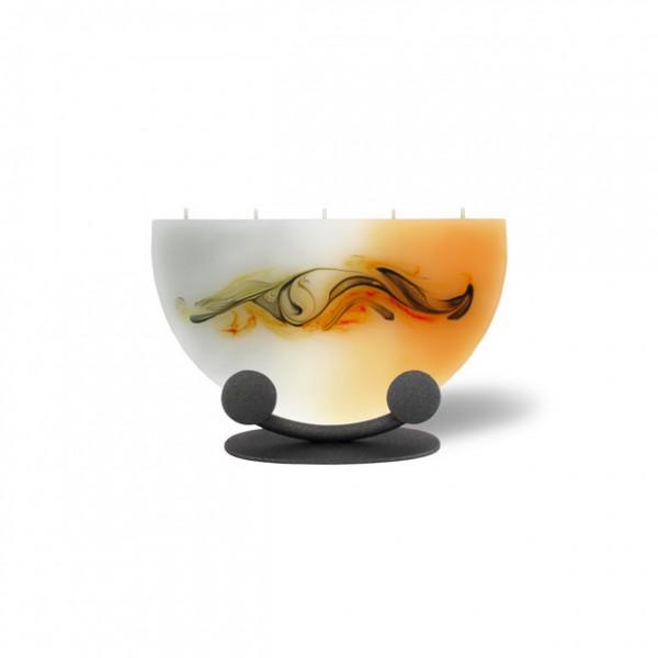 Halbmond Kerze mini 217 Halterung - orange/grau/weiß