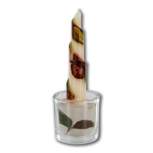 Rulo Deko Set mit Glas und Sand - retrogrün/olivegrün/cappuccino/creme