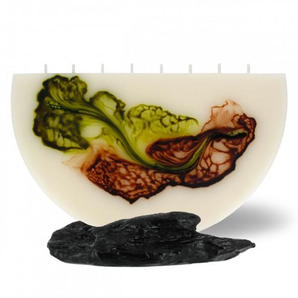 Halbmond Kerze groß 8 Dochte -  retrogrün/olivegrün/cappuccino/creme