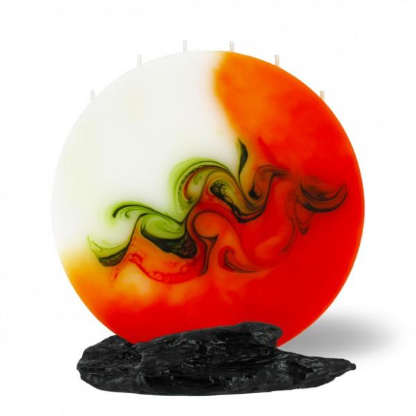 Vollmond Kerze 6 Dochte - orange/olive/weiß
