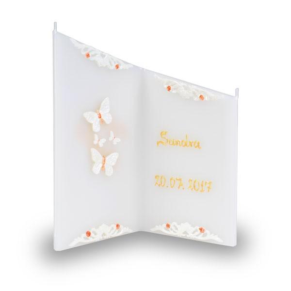 Wunsch Kerze 811 - Schmetterlinge - beschriftet mit Namen und Datum - creme-