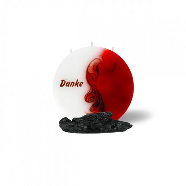 Mond Kerze mini 708 - 14 cm Ø - Danke - rot/braun/weiß -