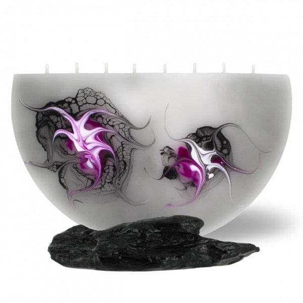 Halbmond Kerze groß 8 Dochte - grau/pink/weiß/schwarz