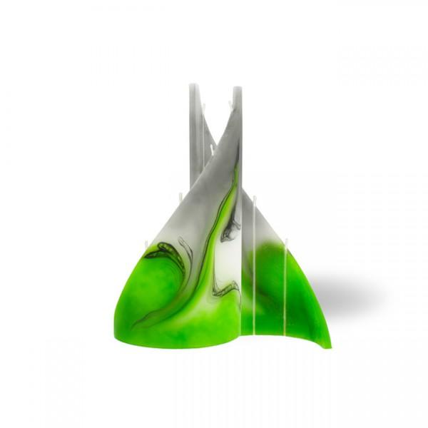 Segel Kerze klein 4 Dochte -  grün/weiss/grau