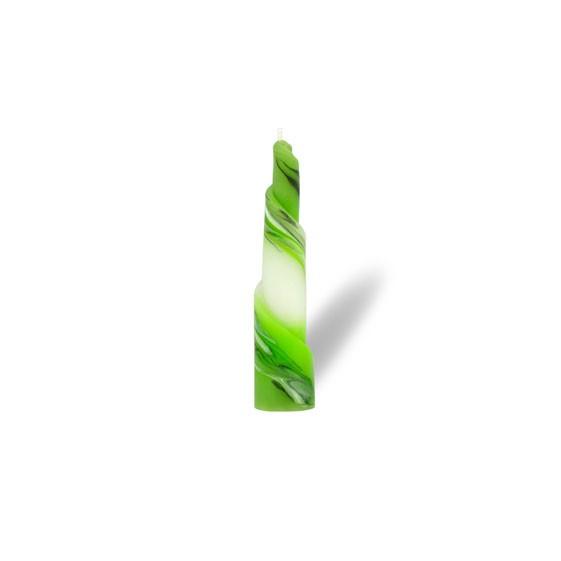 Rulo Kerze -S- 1 Docht -  hellgrün mit grau untergemischt