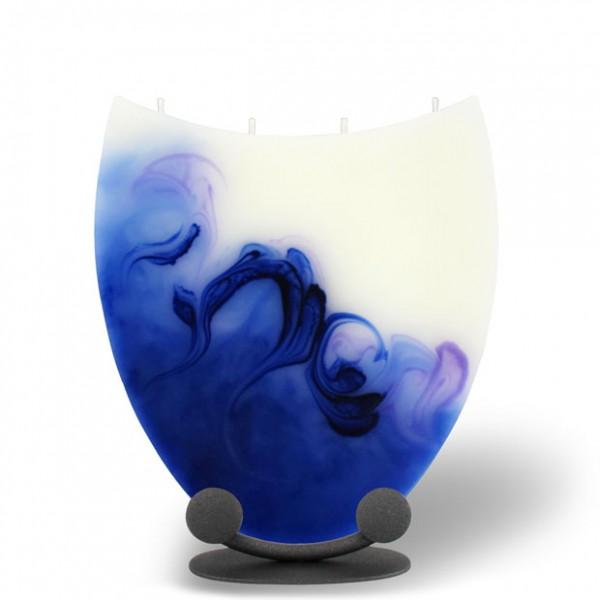 Amphore Kerze mit 4 Dochten -  blau/lila/weiß