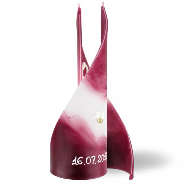 """Segel Kerze 574 """"groß"""" mit Datum + Wachsdekor - aubergine/weiß -"""