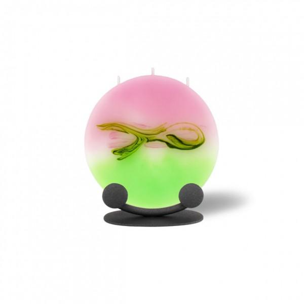 Mond Kerze mini mit Halterung 3 Dochte -  hellrosa mit hellgrün