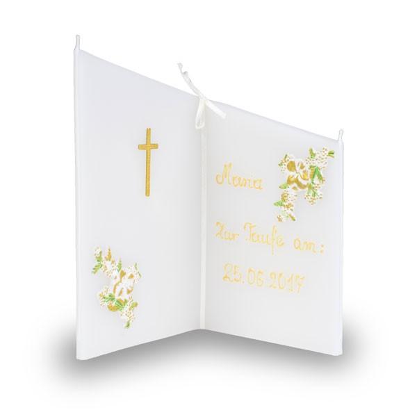 Wunsch Kerze 821 - Taufe - beschriftet mit Namen und Datum - creme-