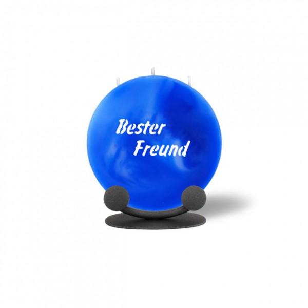Mond Kerze mini 772 Halterung 14 cm Ø - Bester Freund - blau