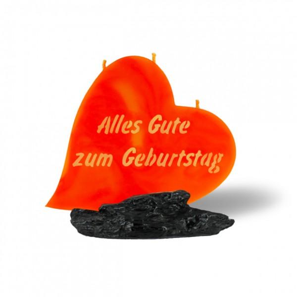 Herz Kerze 723 - Alles Gute zum Geburtstag - orange/gelb -