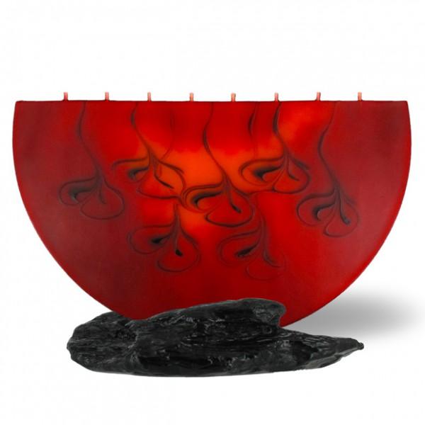 Halbmond Kerze groß 8 Dochte  - rot/braun/orange