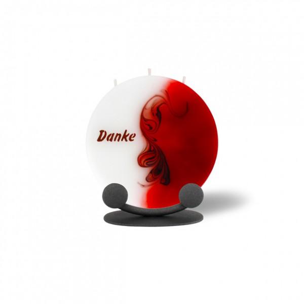 Mond Kerze mini 708 mit Halterung 14 cm Ø - Danke - rot/braun/weiß -