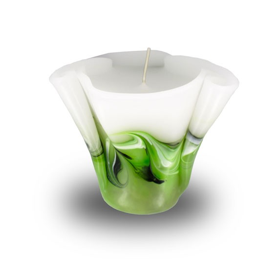 Flower Kerze -M- mit einem Docht -  hellgrün mit grau untergemischt