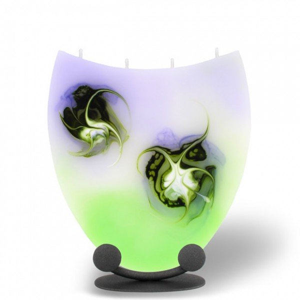 Amphore Kerze mit 4 Dochten -  lila/grün/weiß