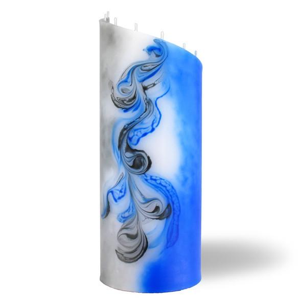 Zylinder Kerze groß 8 Dochte - grau/blau/weiß