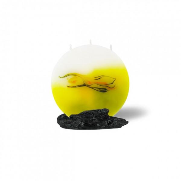 Mond Kerze mini 628 - hellgelb mit grau untergemischt