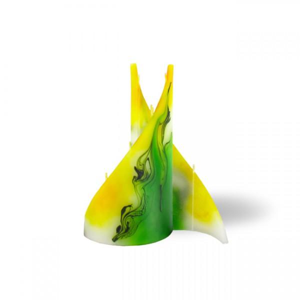 Segel Kerze klein 4 Dochte -  gelb/grün/weiß