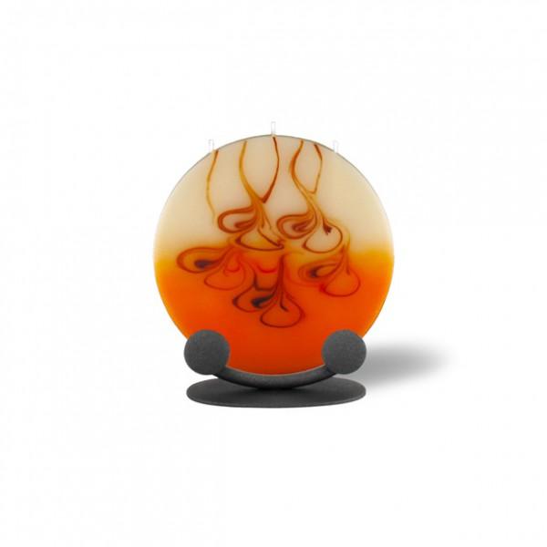 Mond Kerze mini mit Halterung 3 Dochte - rot/braun/creme/orange