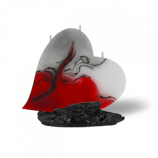 Herz Kerze mit 3 Dochten - rot/grau/weiß