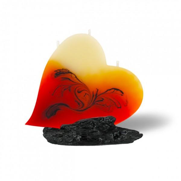 Herz Kerze mit 3 Dochten - rot/orange/braun/creme