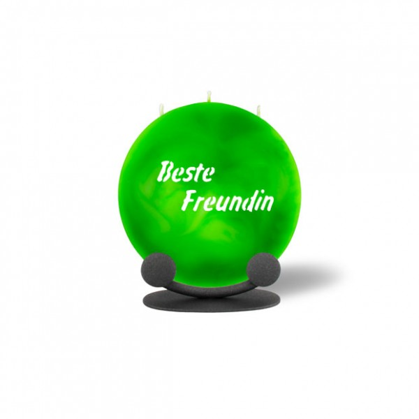 Mond Kerze mini 769 Halterung 14 cm Ø - Beste Freundin - grün