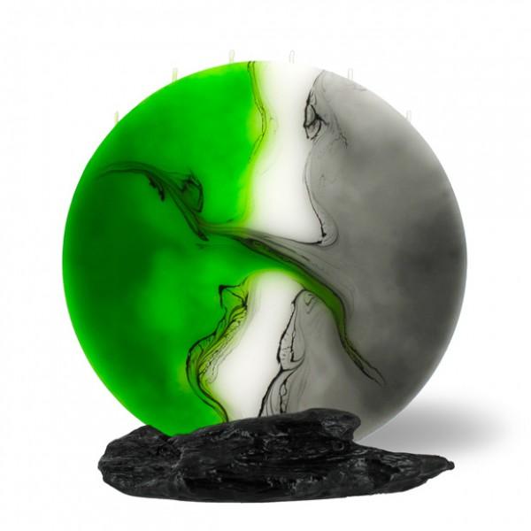 Vollmond Kerze 6 Dochte -  grün/weiss/grau