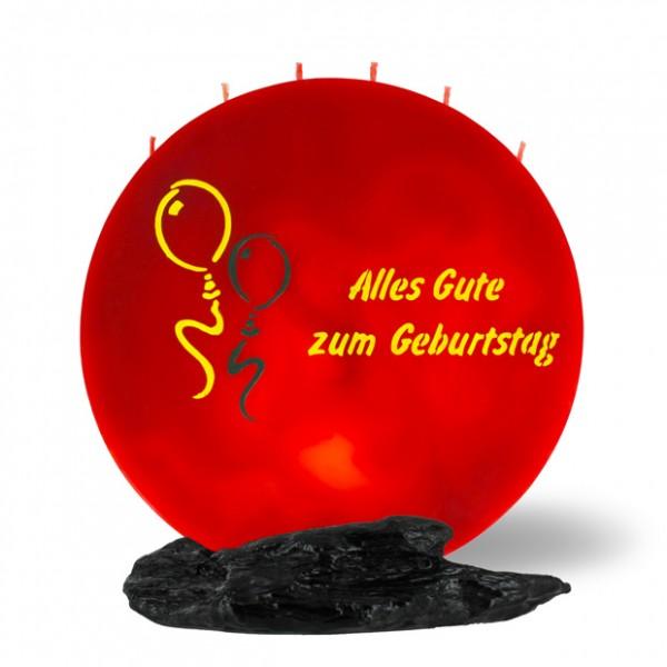 Mond Kerze 754 - 25 cm Ø - Alles Gute zum Geburtstag - rot -