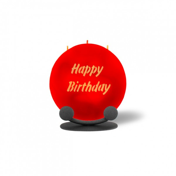 Mond Kerze mini 748 Halterung 14 cm Ø - Happy Birthday - rot -